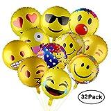 PovKeever Emoji Party Luftballons 18 Inch Folie Helium Ballons für Happy Birthday Hochzeiten Party Jubiläumsbedarf Dekorationen, Packung von 32