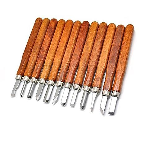 YCNK Professional 12-teiliges Holzschnitzerei Meißel Set Holz Schnitzmesser-Set für Anfänger / Power Grip (4 Stück Stemmeisen)