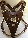 Extra Groß schwere Pflicht Leder Hundegeschirr mit English Bull Terrier Kopf Motiv und Nieten Surround