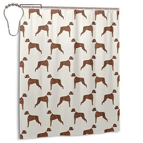 Boxer Dog (2) Duschvorhang aus Polyestergewebe Maschinenwaschbar mit 12 Haken 60 x 72 Zoll - Herren Fun Print Boxer
