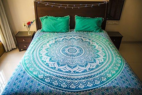 Folkulture Tealtastic ombré Mandala literie avec taies d'oreiller, tenture tapisserie indien bohémien, couverture de pique-nique ou couverture de plage hippie, couvre-lit hippie pour chambre, couvre-lit drap lit bohémien queen size bleu