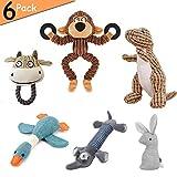 Hcpet 6 Pezzi Dog Squeaky Toys, Giocattoli per Cani per Cane da Medio a Piccolo - Scimmia, Dinosauro, Oca Selvatica, Coniglio, Elefante e Toro