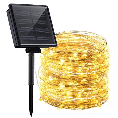 Mpow 22M Cadena Solar de Luces, 200 LED Luces de Alambre de Cobre, Estrelladas Luces de Cadena,Decorativa Secuencia Solar,8 Modes Impermeable,Patio Interior del Jardín de la Navidad.