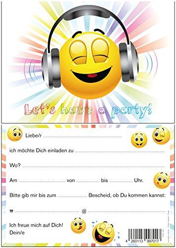 """""""LET´s HAVE a PARTY"""": 10-er-Set lustige Smiley- / Emoji-Einladungskarten (10701) zum Kindergeburtstag von EDITION COLIBRI © – umweltfreundlich, da klimaneutral gedruckt - 3"""