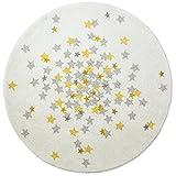 art Kids Kunst für Kinder Wohnzimmer Nova Teppich, rund, weiß/grau/gelb, 120cm