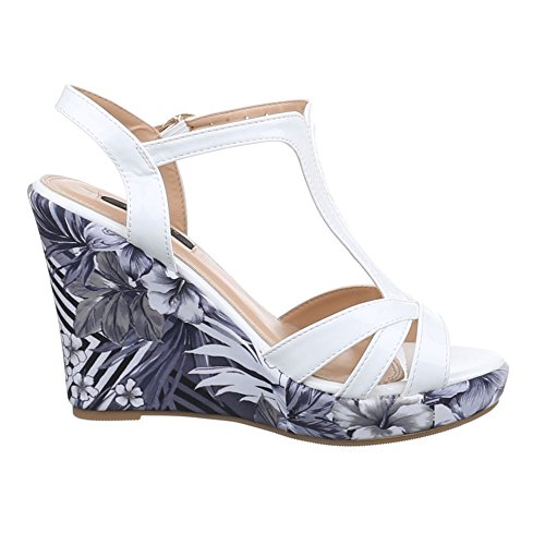 Ital-Design Damen Schuhe, 1353-KL, Sandaletten Pumps Keil Plateau Weiß