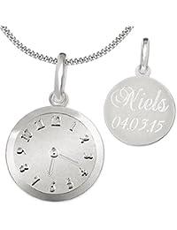 CLEVER SCHMUCK-GRAVUR-SET Silberner Anhänger Geburts-Uhr matt und glänzend mit wählbarer Kette, beides STERLING SILBER 925 im Etui