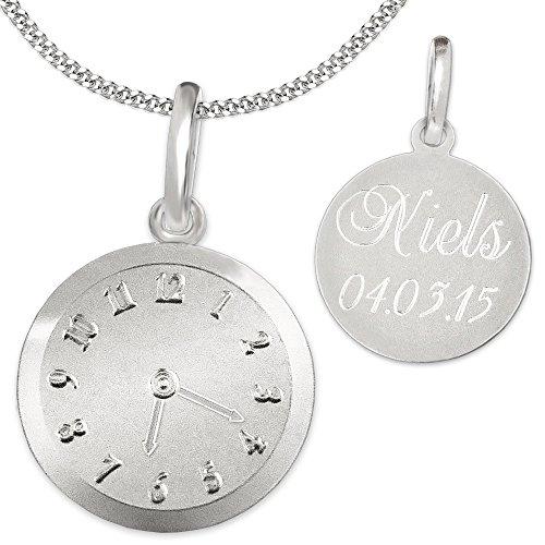 Clever Schmuck Set mit Gravur: Silberner Anhänger Geburts-Uhr matt und glänzend mit wählbarer Kette, beides STERLING SILBER 925 im Etui - Uhr Pate