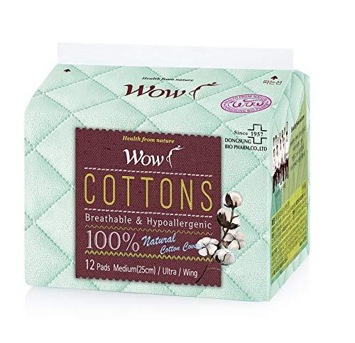 WOW - Assorbenti mestruali in 100% cotone, misura media, ultra naturali, con ali da 25 cm, per pelli sensibili
