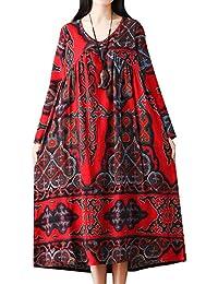 P Ammy Fashion Women s National Cotton   Linen V-Neck Maxi Long Floral Dress a79a6a19dc1c