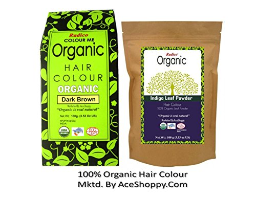 Radico Organic Dark Brown With Indigo Leaf Powder  available at amazon for Rs.700