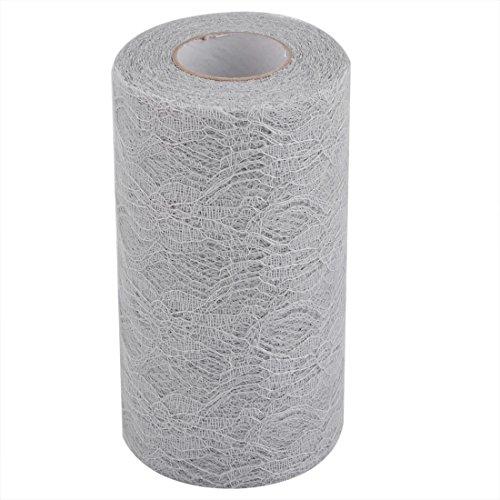 sourcingmap® Home Party Lace Bankett Hall DIY Tüll Spool Roll Silber Grau 6 Zoll x 25 Yards DE de -