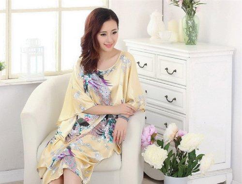 JTC Femme Vêtement de Nuit Robe Imprimé Chinois Fleur Jaune
