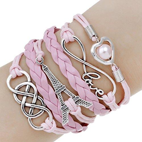 Spedito da ITALIA - Bracciale di corda regolabile TORRE EIFFEL CUORE PERLA colore rosa chiaro