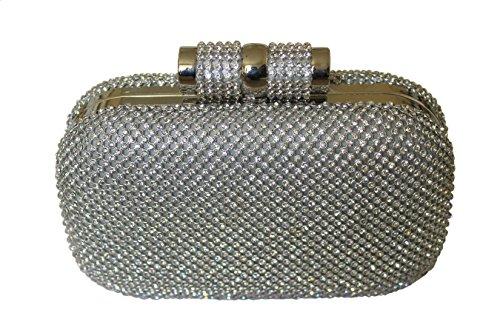 Bolsa grande de Bling Diamante Diamante cristal noche embrague bolso fiesta Prom (Plata)