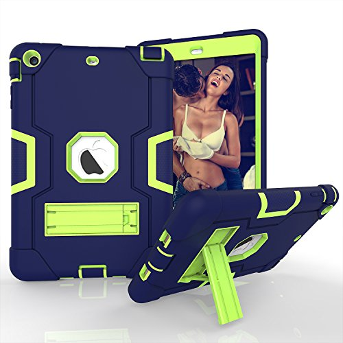 Yoomer Schutzhülle für iPad Mini 2, iPad Mini 3, dreilagiges Silikon + Harte PC Bumper Armor Defender strapazierfähig stoßfest robust Hybrid Schutzhülle mit Ständer für iPad Mini 1/2/3, Navy+Green