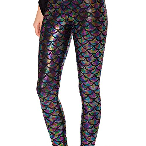 Highdas Damen Reizvolle Legging Grune Meerjungfrau Gamaschen Gedruckt Hosen Schuppengamaschen Plus Size 4XL Multicolor