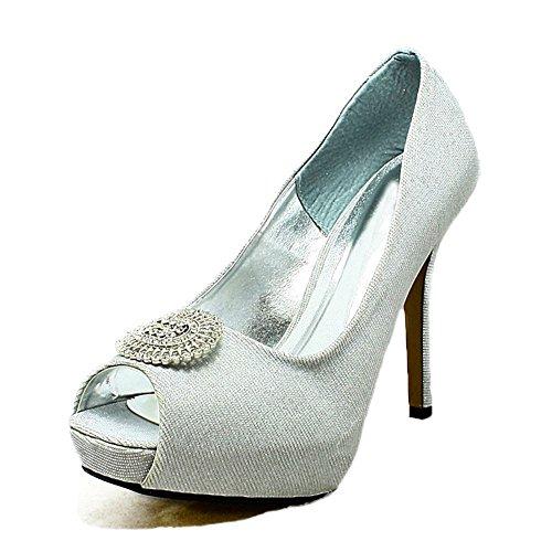 Mesdames satin cachés chaussures de mariage plateforme peep toe avec grande broche silver frost