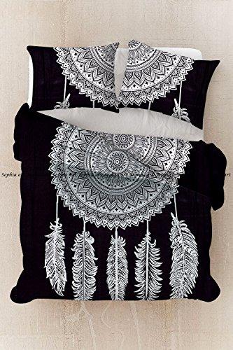 weiß Traum Cather Mandala Queen Size Decke, Bettbezug, indischen Tagesdecke, Bohemian Bettwäsche, Bettdeckenbezug Doppelbett Tagesdecke mit Kissen Baumwolle, Doona Cover ()