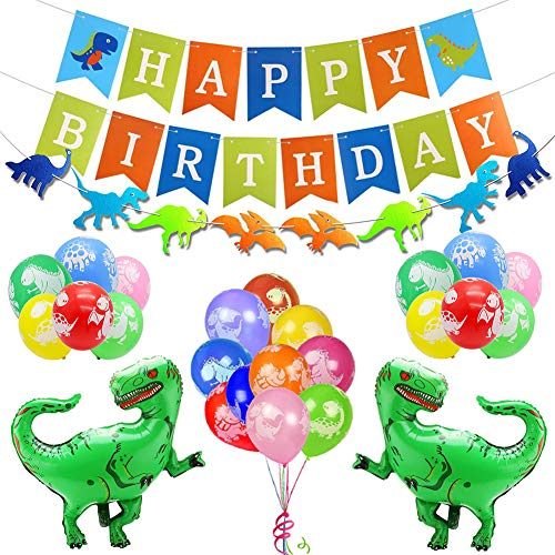 nosaurier Geburtstag Party Dekoration Kit: Alles Gute zum Geburtstagfahne, Dinosaurier-Girlande, große Dino-Folien-Ballone grün, Bunte Ballone - Partei liefert Bevorzugungen ()