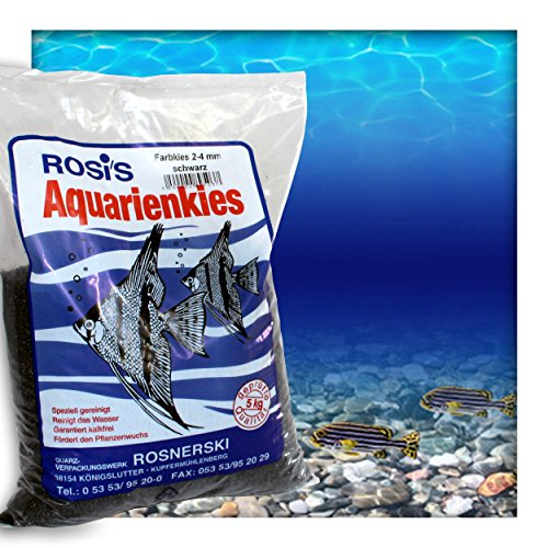 Farbkies Schwarz Aquarium Deko Kies Aquariengrund Aquariumkies Bodengrund Körnung 2-4 mm 20 kg (4 x 5 kg Beutel)