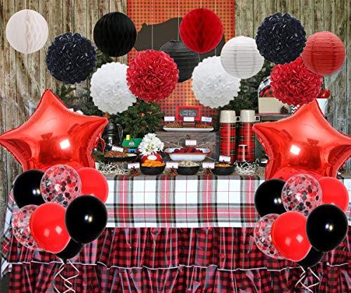 JOYMEMO Rote und Schwarze Partydekorationen mit Seidenpapier und Luftballons für Minnie Mouse, Holzfäller, Marienkäfer oder Piraten-Geburtstagsfeier, Babyparty