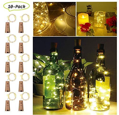 20 LED Flaschen Licht 2M [10 Stück] Lichterkette für Flaschen, Weinflasche Kupferdraht Lichterketten für Party Hochzeit Urlaub Weihnachten DIY Dekor Korken Led, Warmesweiß (Guter Halloween-party Wein Für Die)
