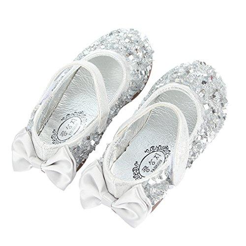 EOZY Kinder Ballerina Mädchen Glitzer Festliche Schuhe Kinderschuh Silber