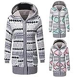 Geometrischer Druck,Hooded,Buttons geschlossen,komfortabel,warm Winter Fashion Geometric Print Long Sleeve Hooded Coat Damen Buttons Outwear-Pink XL