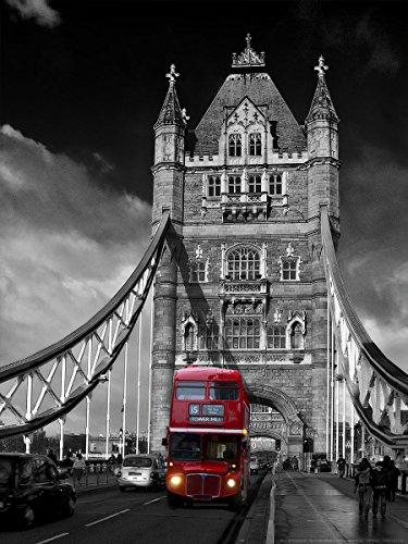 Postereck - 0121 - Roter Bus auf Tower Bridge, London - Poster 80.0 cm x 60.0 cm
