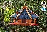 ÖLBAUM Premium Vogelhaus, groß, XXL mit Anflugbrett/Landebahn, Massivholz,wetterfest, mit Silo/Futtersilo für Winterfütterung,Gartendeko aus Holz blau grau BGA60blOS Vogelhäuser