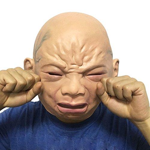 QHJ Halloween Kostüm Party Maske Gruselige Halloween Prop Cry Baby Vollkopf Latex Maskerade Maske Party Gesicht Helloween Kostüm Party - Kopf Auf Einem Tisch Kostüm