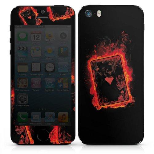 Apple iPhone 3Gs Case Skin Sticker aus Vinyl-Folie Aufkleber Herz Ass Karten DesignSkins® glänzend