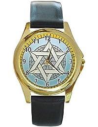 Estrella de David en un tono de oro reloj con piel banda