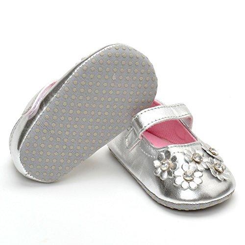 Estamico Baby Mädchen Leder Blumen mit Diamant Schuhe Silber