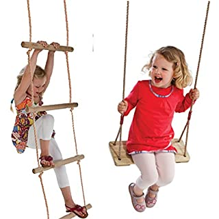 Set Wooden and Rope Garden Swing & Rope Ladder Toy