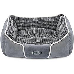 Pecute Cama para Mascotas Básica Cama de Suave Gamuza para Perros y Gatos de Color Gris (mediana: 63*53*21cm)