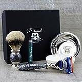 Silber Antik Stil Herren Rasier-Set mit Silber Spitze Bürste und Gillette Fusion Rasierer mit Schale & Seife. Perfekte Fellpflege-Set Geschenk für ihn