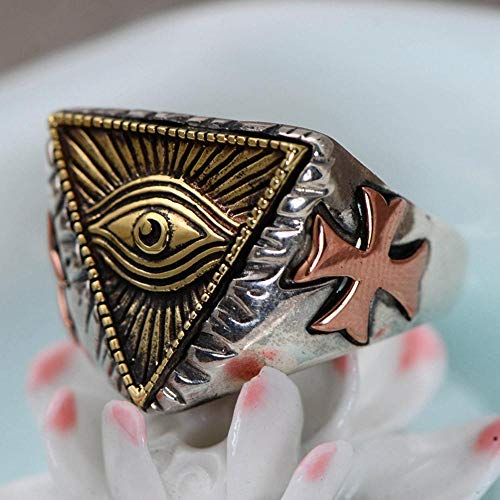 Aoligei Einstellbarer Ring S925 Sterlingsilber Involution antiken ägyptischen Pharao Dreieck Gott Auge herrenring