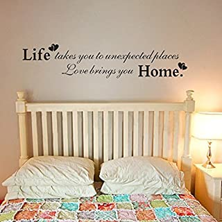 Wall Sticker for Bedroom Family Love Decor-Life Takes You to Unexpected Places;Love Bring You Home-Master Room Vinyl Headboard Art Sticker(Large) Kitchen Decor Art Wall Decals