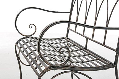 CLP Gartenbank ORKUN im Landhausstil, Eisen lackiert, 107 x 50 cm, 2er Sitzbank Bronze - 7