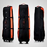 PGM Golf Travel Bag Cover Rädern – --- Double Deck, dicker, wasserdicht Nylon, mit Boden, schwarz / orange