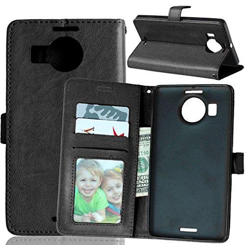 Microsoft Nokia Lumia 950XL Tasche Schwarz + Kostenlos Syncwire Ladekabel, FUBAODA Leder Hülle, Flip Leder Money Karte Slot Brieftasche, Kartenfächer Ständerfunktion für Microsoft Nokia Lumia 950XL (schwarz)