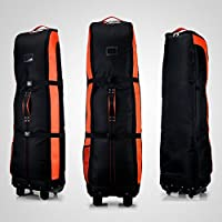 PGM Golf bolsa de viaje, con ruedas–--- doble de la cubierta, grueso, impermeable, nailon), con base, negro/naranja