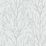 DELAMERE LUXURY FOREST BLOSSOM TREE BRANCHES WALLPAPER 10M ROLL - SILVER FD31144