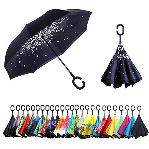 Sumeber Reverse Umbrella - Umgedrehter Regenschirm - C-Griff - idealer Autofahrerschirm - hält die Nässe im Schirm-Ihr Auto bleibt trocken - steht alleine