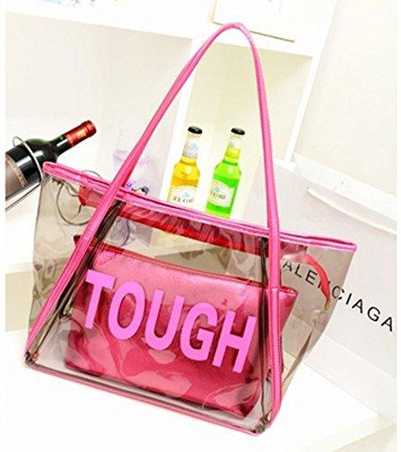 Zicac Grande borsa da spiaggia a tracolla, in PVC trasparente, color caramella, con sacca interna con zip Rosa