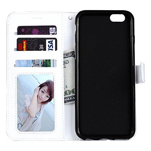 Phone case & Hülle Für iPhone 6 / 6s, Crazy Pferd Textur Horizontale Flip Leder Tasche mit magnetischen Wölbung & Halter & Card Slots & Wallet & Photo Frame ( Color : Green ) White