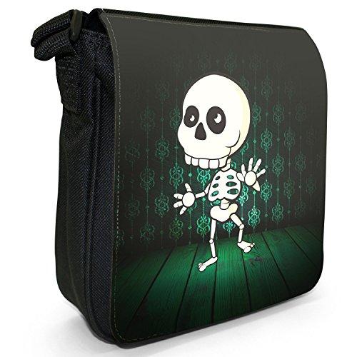 I mostri piccolo nero Tela Borsa a tracolla, taglia S The Monsters - Skeleton