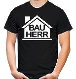 Bauherr T-Shirt | Handwerker | Party | Männer | Herren | Hausmeister | Werkzeug | Fasching | Kostüm | Funshirt | Geschenk (L, Schwarz)